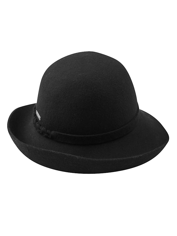 Seeberger Chapeau en feutre en pure laine, Noir
