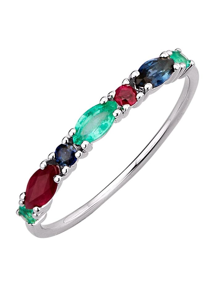 Diemer Farbstein Damenring mit Rubinen, Saphiren und Smaragden, Multicolor