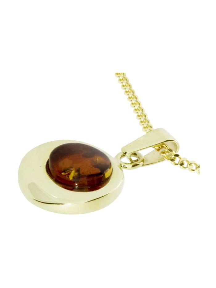 Kette mit Anhänger - Alina 12 mm - Silber 925/000, vergoldet - Bernstein