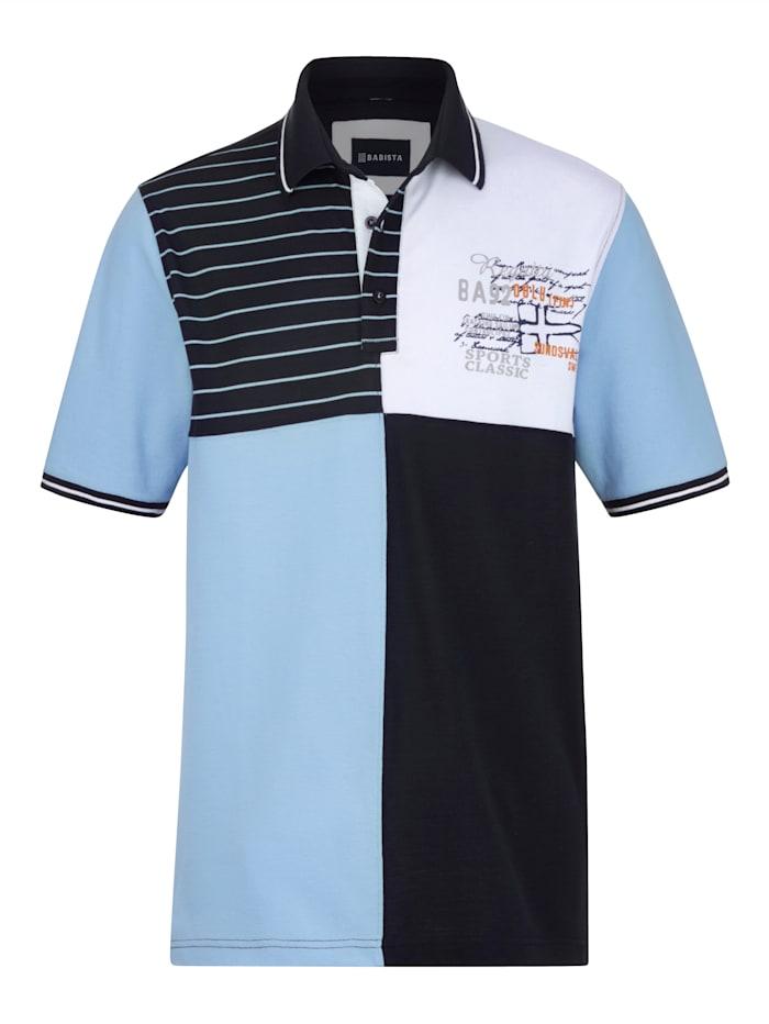 BABISTA Poloshirt in bicolor look, Marine/Lichtblauw
