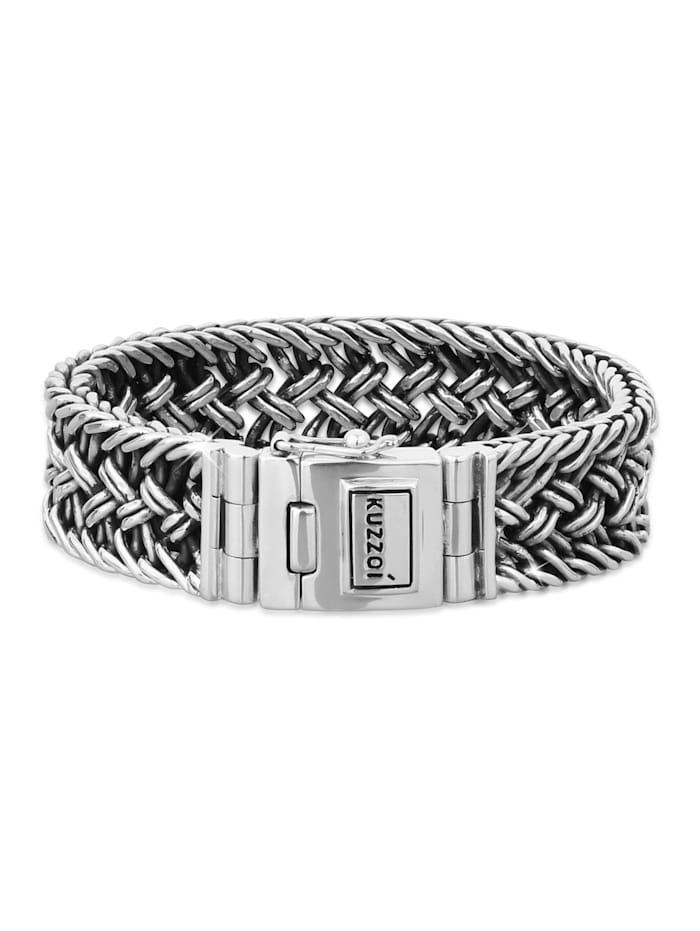 Kuzzoi Armband Herren Panzerarmband Kastenverschluss 925Er Silber, Silber