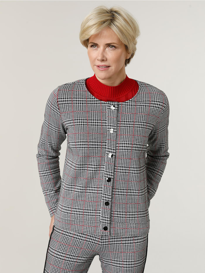 MONA Shirtjacke mit Glencheck- Muster, Schwarz/Weiß/Rot
