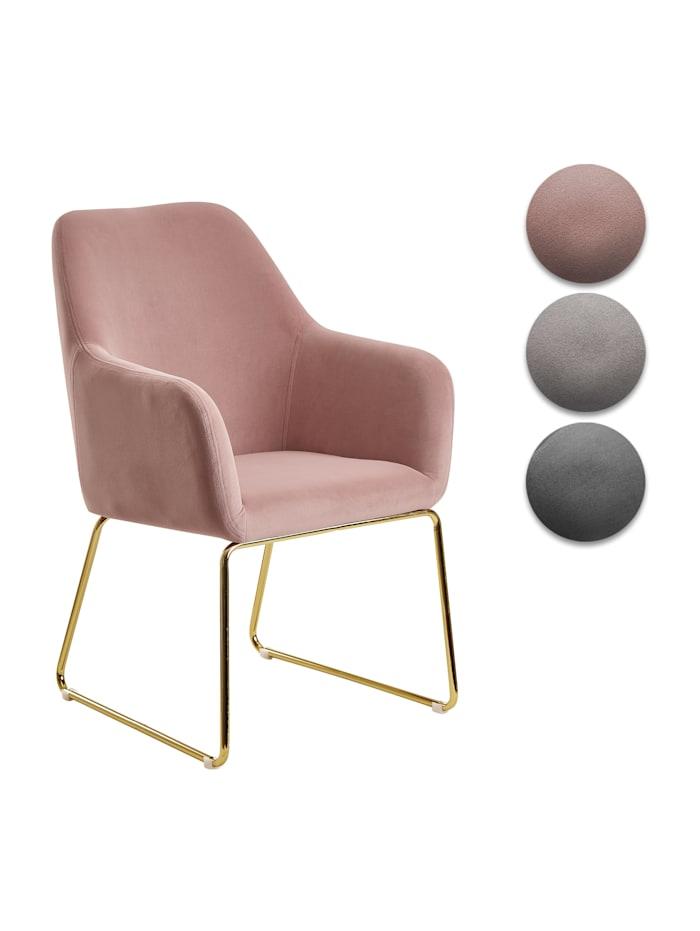 finebuy Esszimmerstuhl Samt Küchenstuhl mit goldenen Beinen Schalenstuhl Stoff Metall Polsterstuhl, Hellgrau / Schwarze Beine