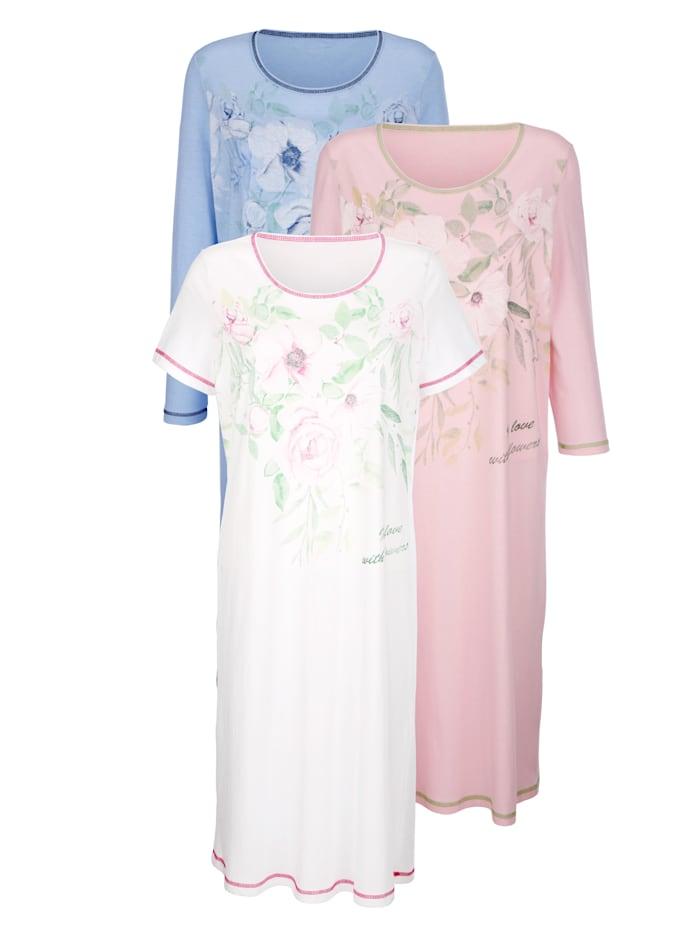 Harmony Nachthemden im 3er Pack mit drei unterschiedlichen Ärmellängen, Weiß/Rosé/Hellblau
