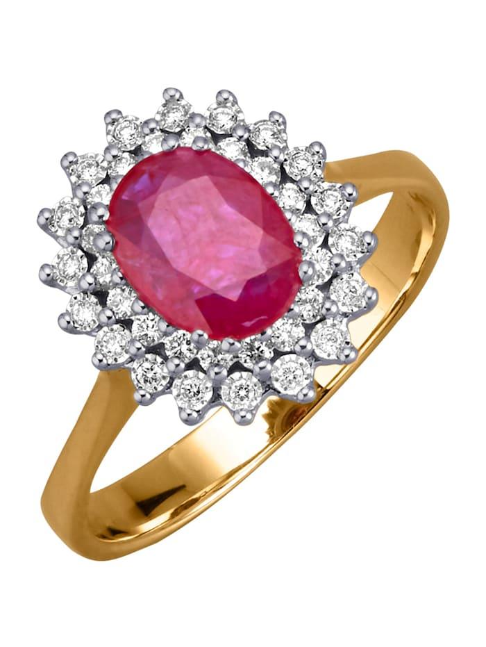 Amara Pierres colorées Bague avec rubis et brillants, Rouge