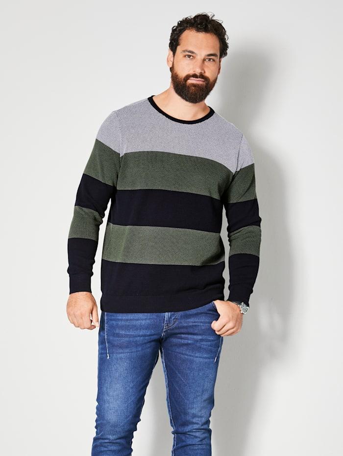 Men Plus Pullover aus reiner Baumwolle, Oliv/Marineblau