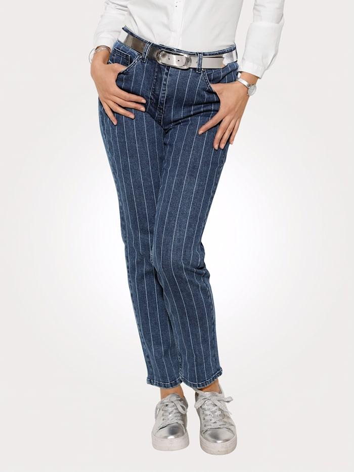 MONA Jeans met tijdloos streepdessin, Donkerblauw