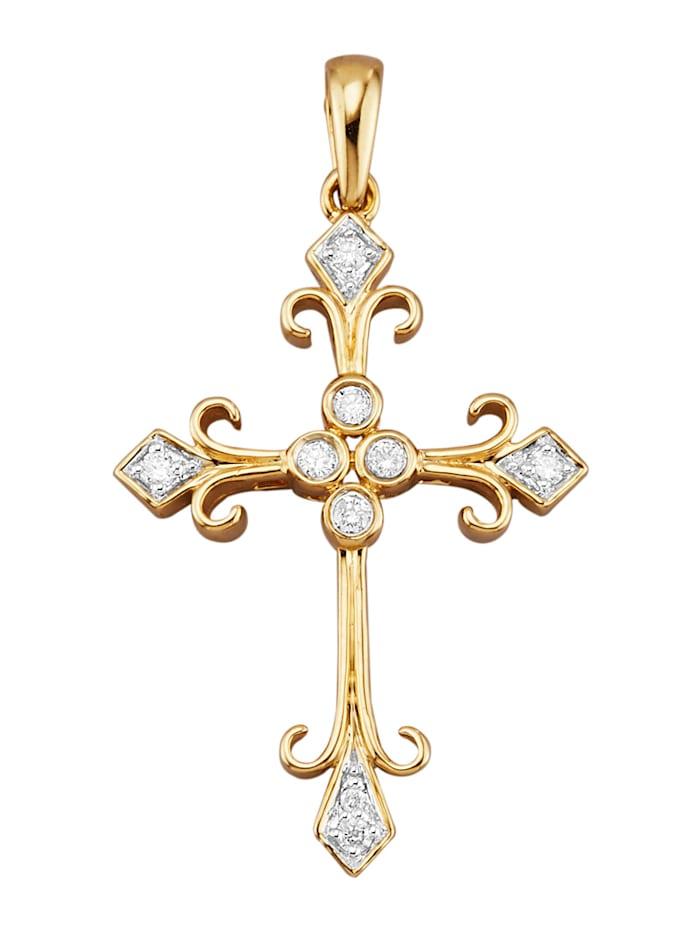 Pendentif Croix avec brillants, Coloris or jaune