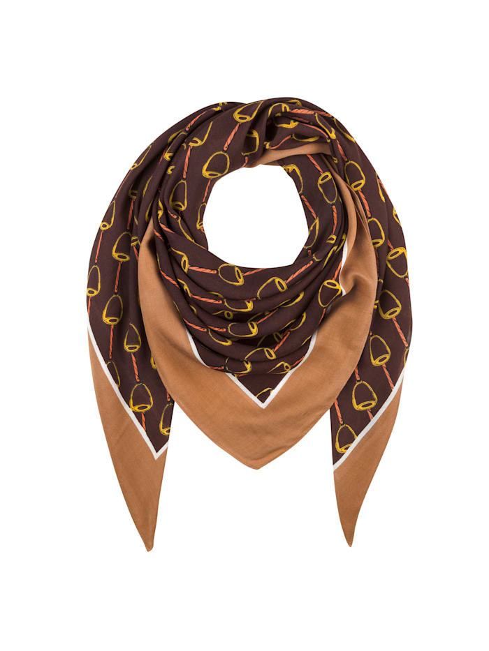 Codello Softes Viskose-Tuch mit klassischem Reitsport-Motiv, brown