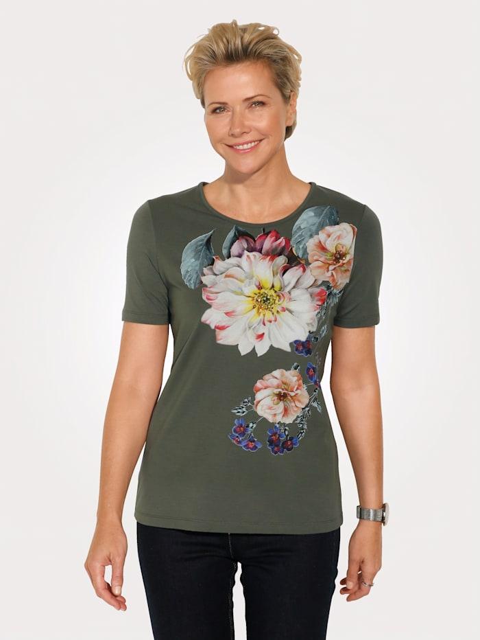 MONA T-shirt à motif floral, Olive/Rouge