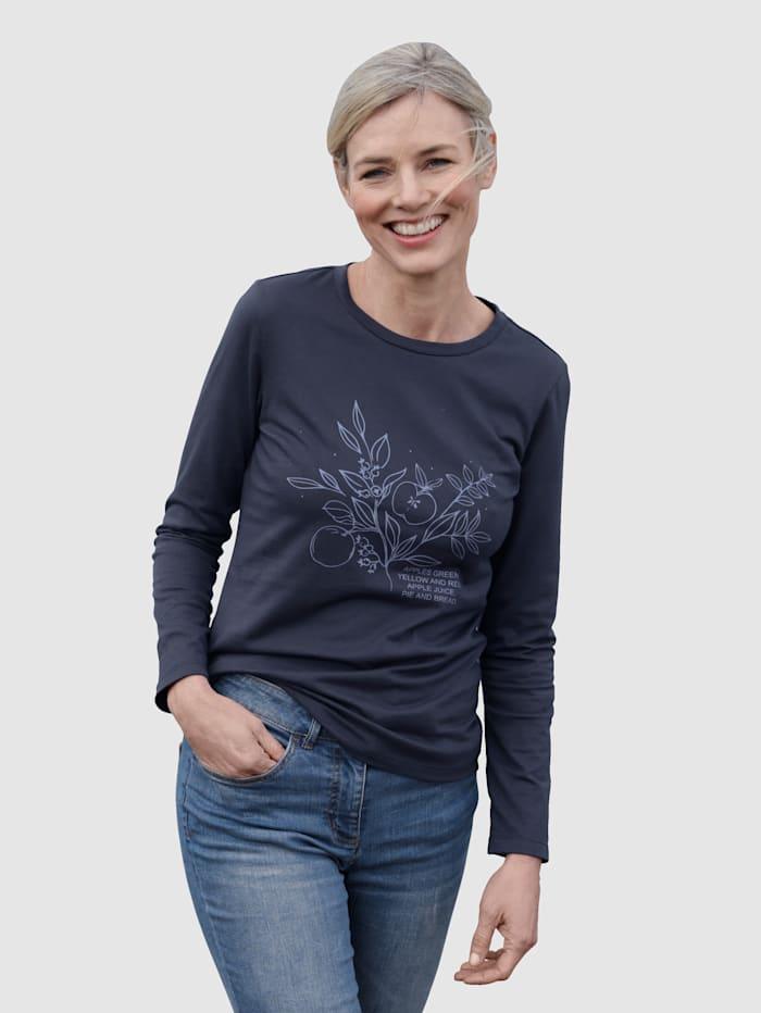 Dress In Shirt mit Frontprint, Marineblau