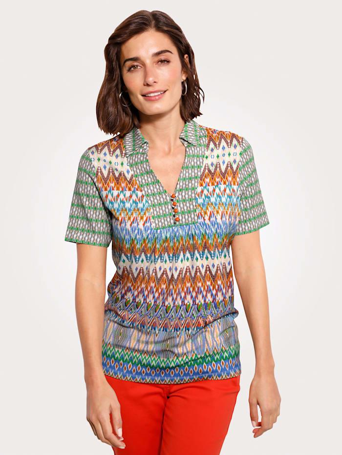 MONA Shirt mit grafischem Druck, Grün/Natur/Hellblau