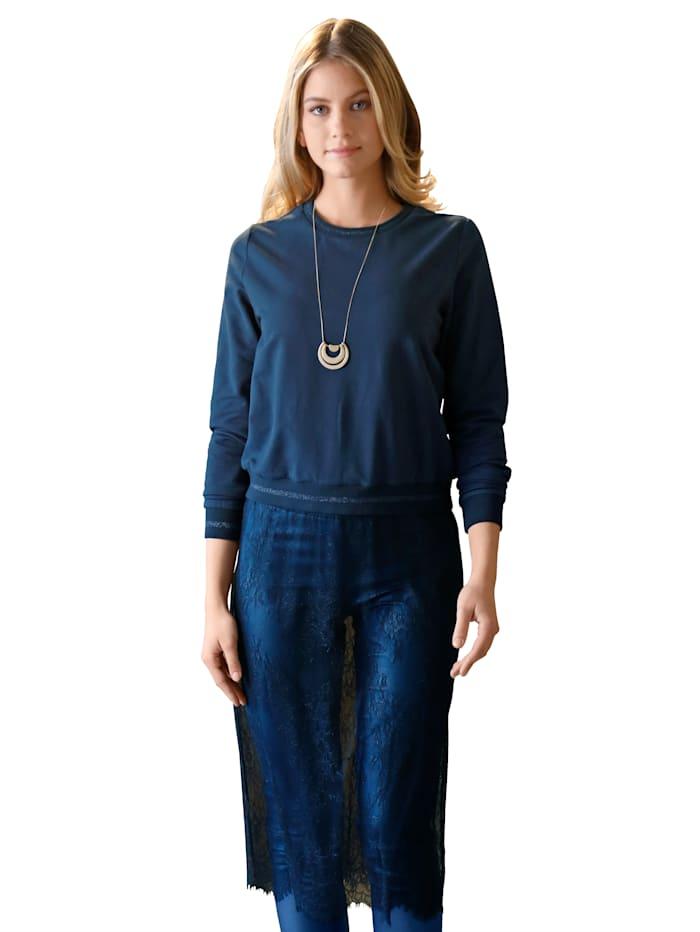 AMY VERMONT Sweatshirt mit transparenter Spitze, Marineblau