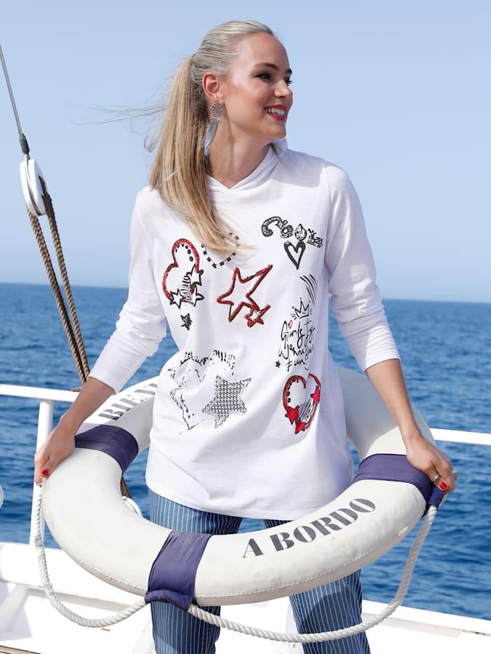 MIAMODA T-shirt long à capuche en résille tendance, Blanc/Rouge/Noir