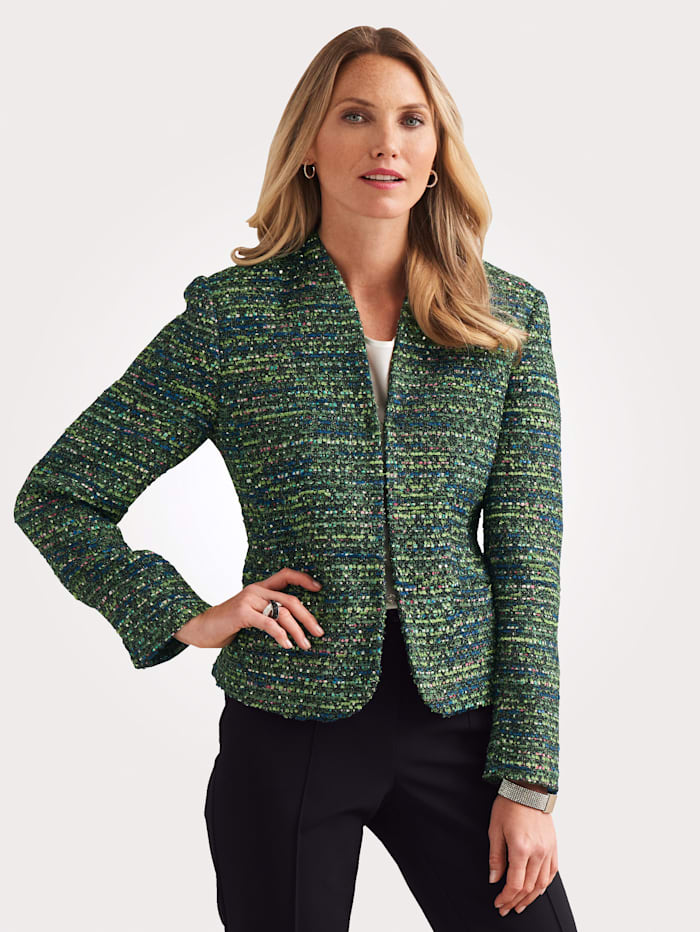 MONA Blazer in a striking mélange fabric, Green/Black