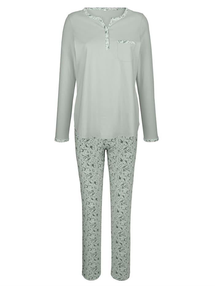 Harmony Schlafanzug mit süßer Brusttasche, Jade/Dunkelgrün