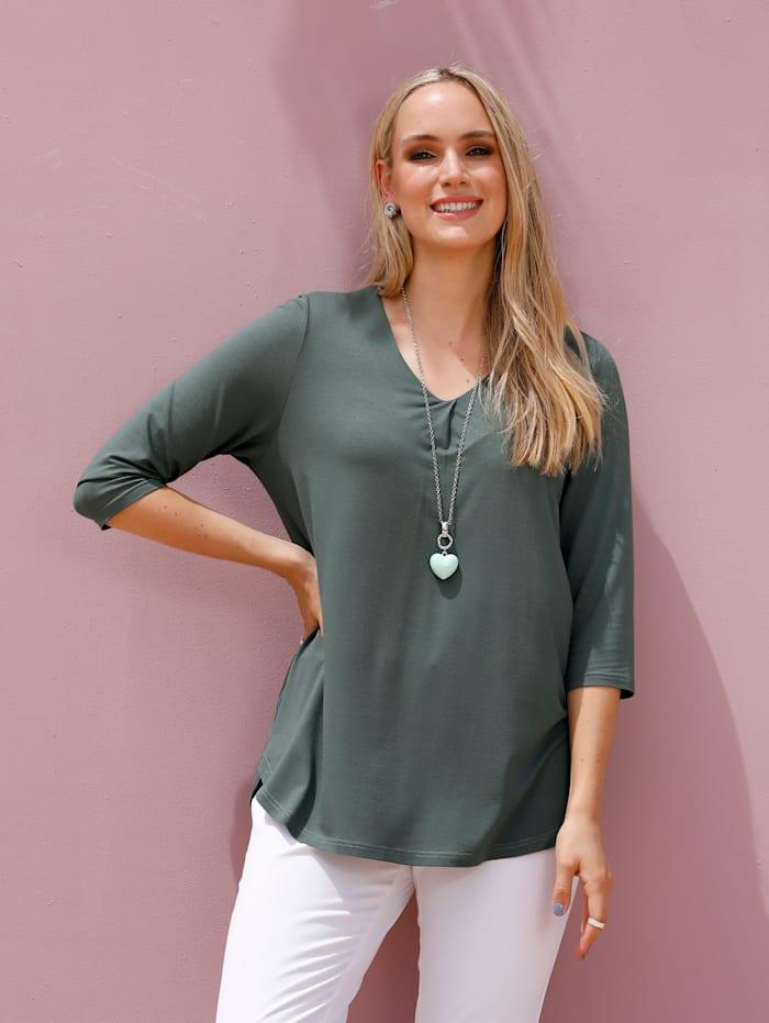 MIAMODA Tričko s dekorativním záhybem na výstřihu, Zelená