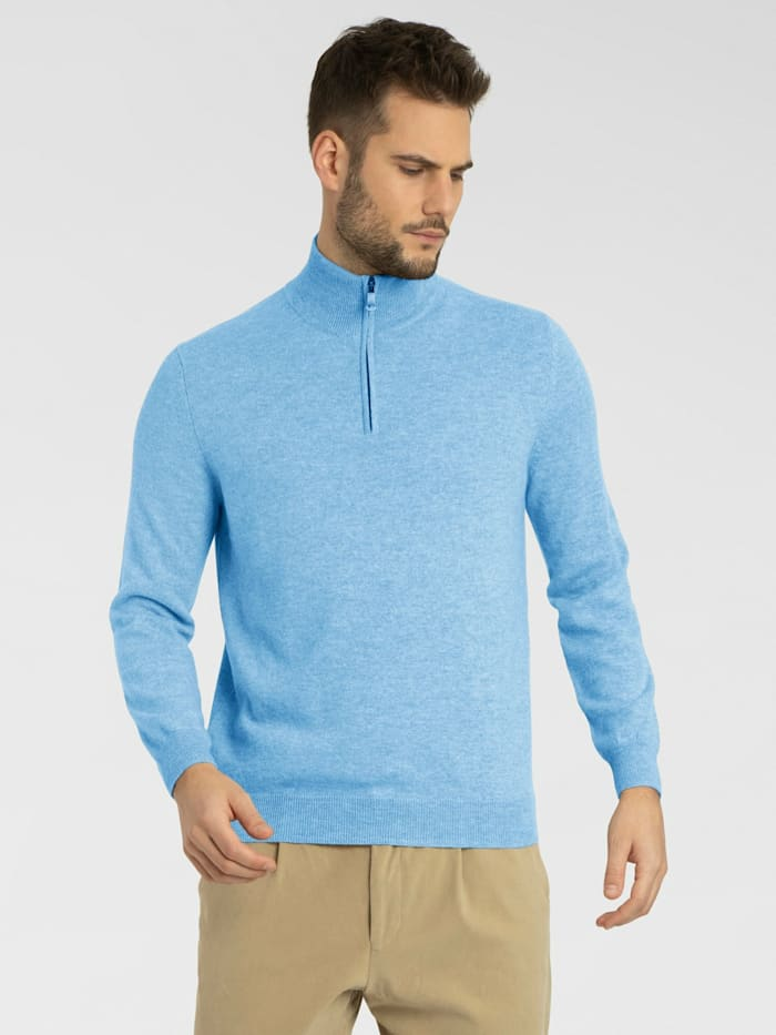 Cashmere Stories Herrentroyer mit Zip aus hochwertigem Cashmere, denim blue