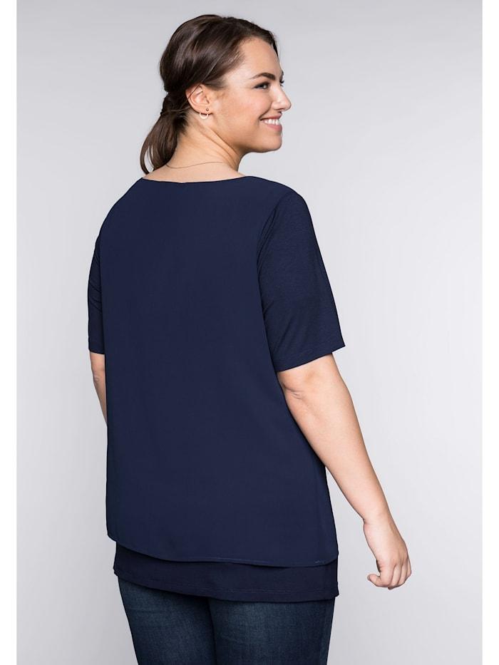 Blusenshirt im Layerlook mit rundem Ausschnitt