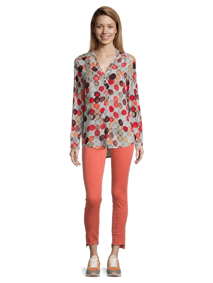 Cartoon Casual-Bluse mit Muster, Nature/Red