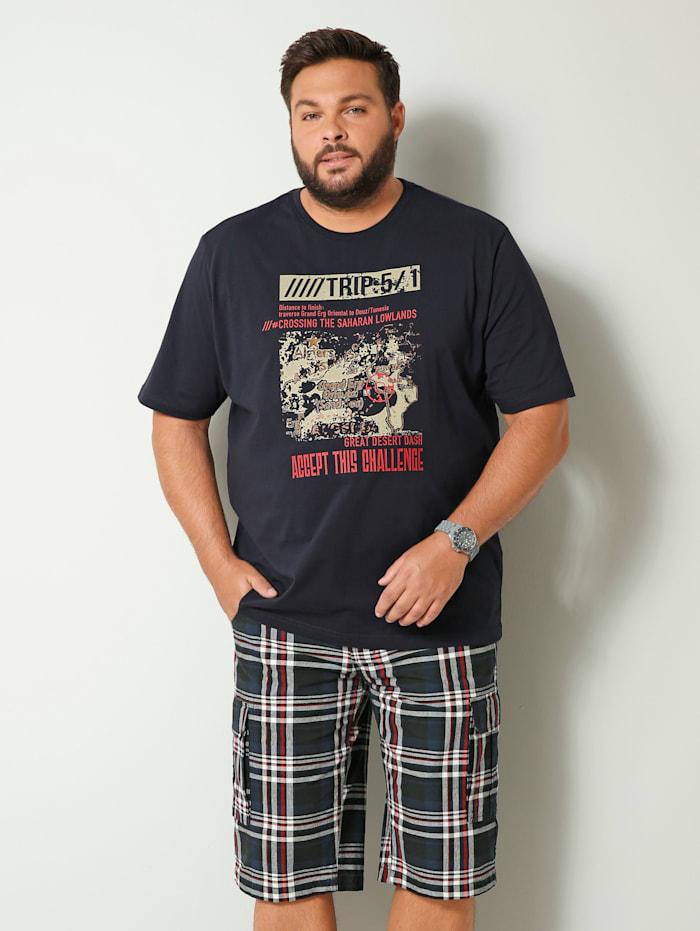 Men Plus T-shirt van zuiver katoen, Marine/Lichtrood