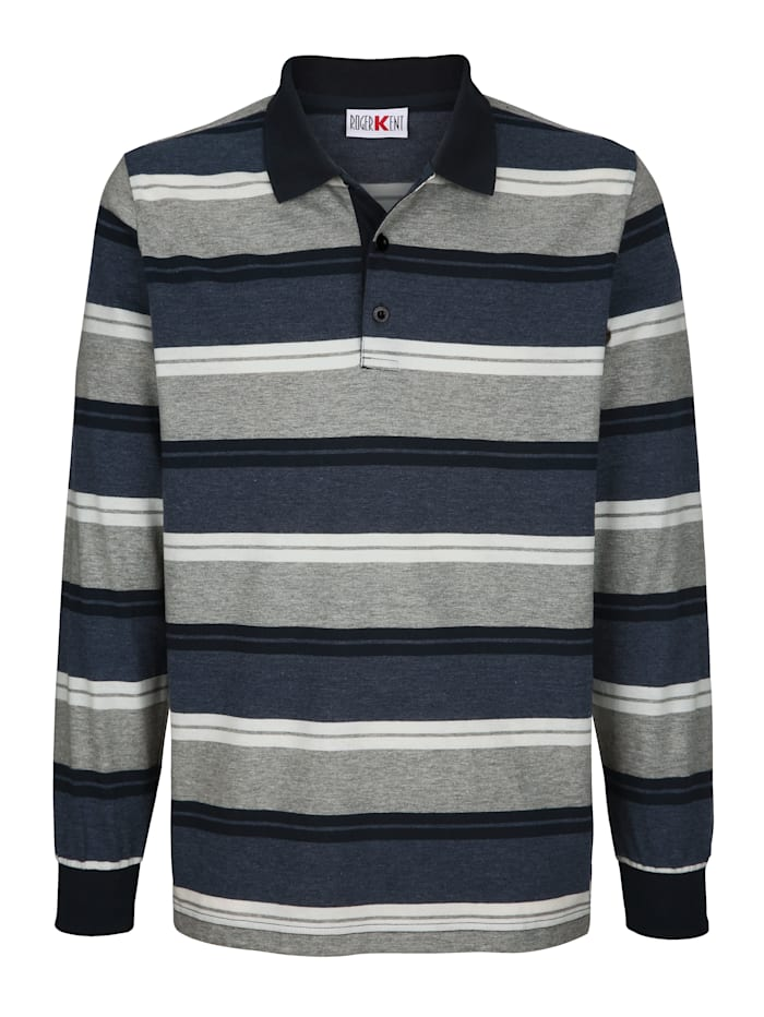 Roger Kent Poloshirt mit garngefärbtem Streifenmuster, Blau/Grau