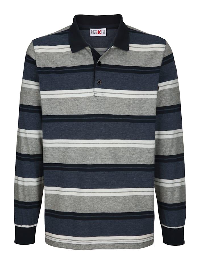 Roger Kent Poloshirt met ingebreid streeppatroon, Blauw/Grijs