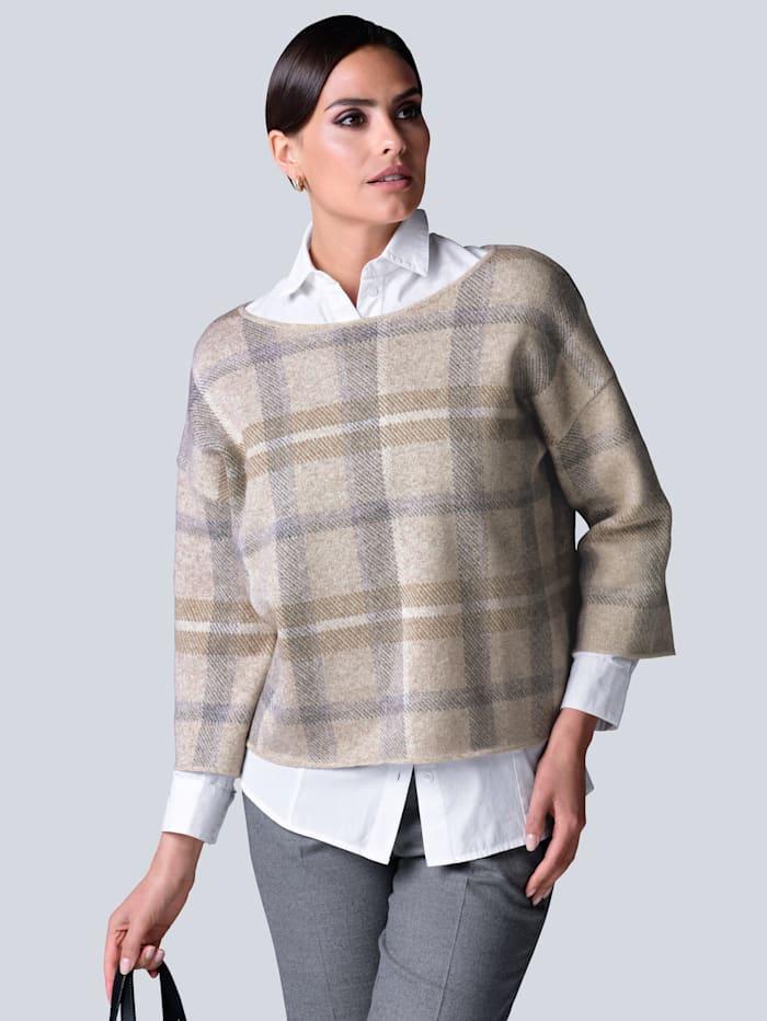 Alba Moda Pullover aus hochwertiger reiner Kaschmirqualität, Grau/Beige/Off-white