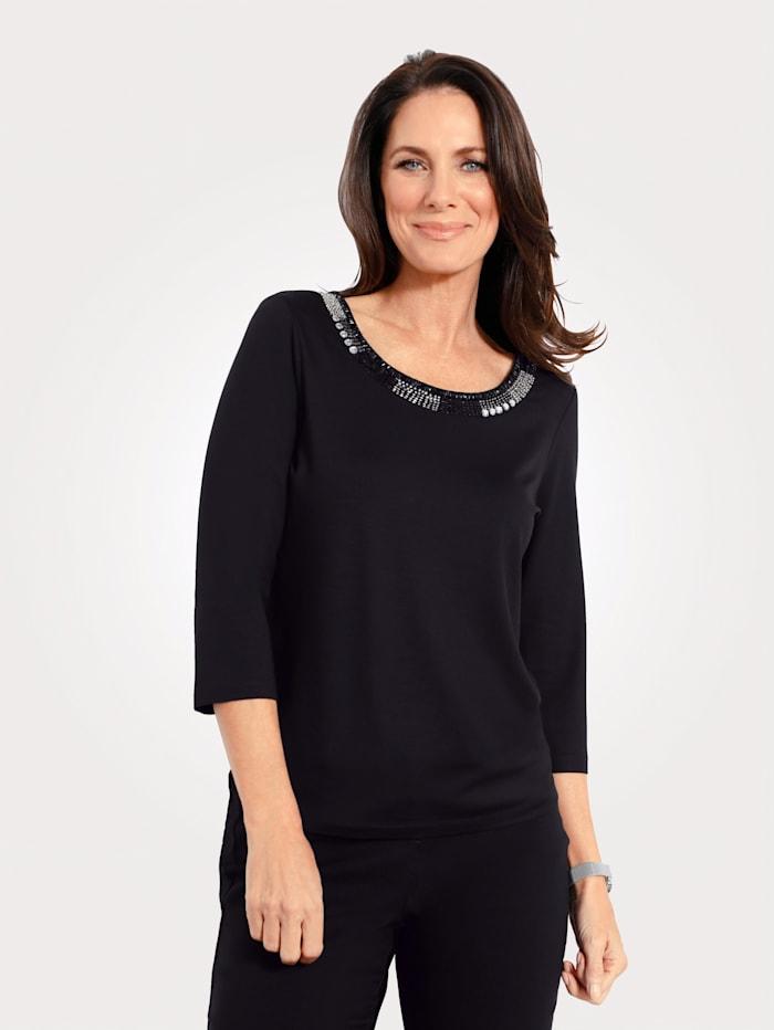 MONA Shirt mit Strasssteinen am Ausschnitt, Schwarz