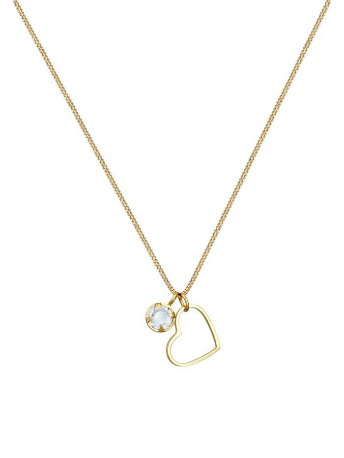 Halskette Herz Liebe Cut Out Kristalle 925 Silber