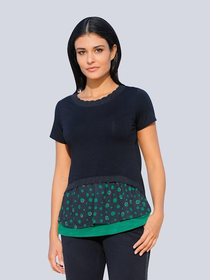 Alba Moda Shirt van een materialenmix, Marine/Groen