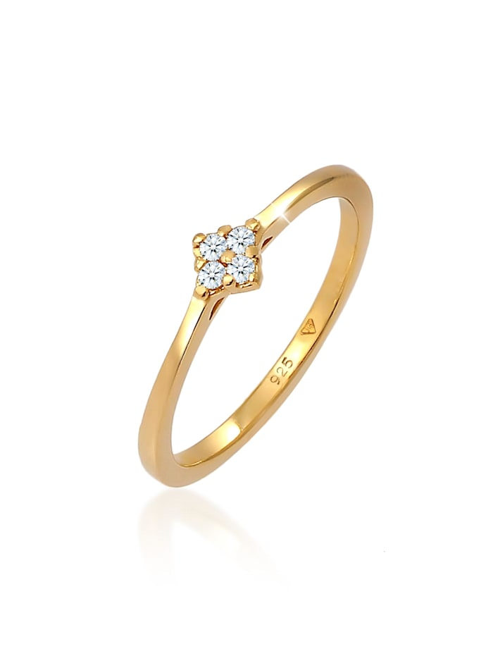 DIAMORE Ring Verlobung Klassisch Diamant 0.06 Ct. 925 Silber, Gold