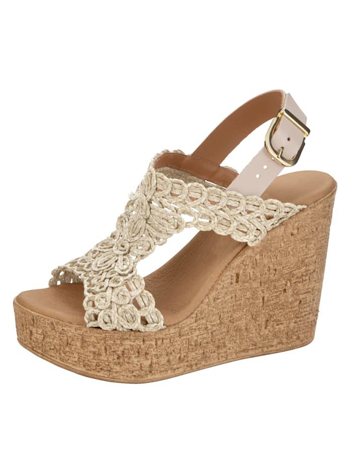 Sandales compensées à effet macramé, Beige