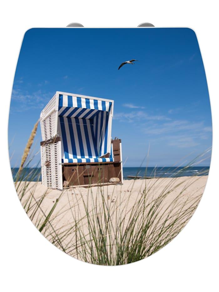 Wenko Premium WC-Sitz Hochglanz Acryl Strandkorb, aus antibakteriellem Duroplast, Absenkautomatik,, Sitz: Weiß, Oberfläche: Mehrfarbig, Befestigung: Silber matt