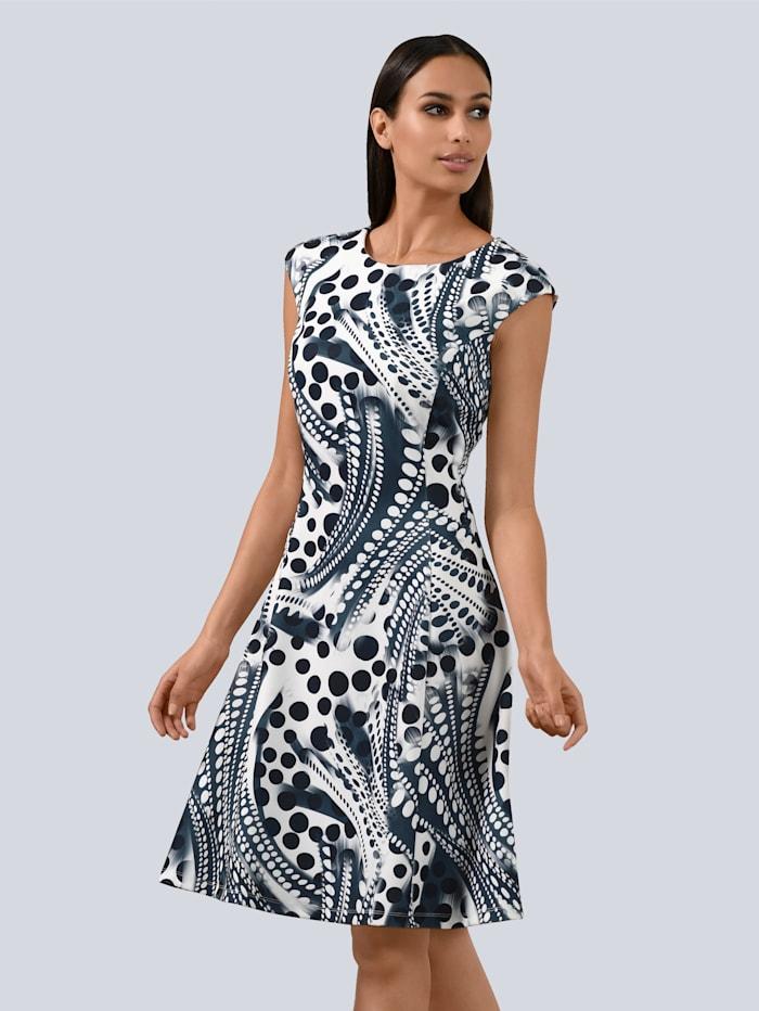 Alba Moda Kleid mit leicht überschnittener Schulter, Marineblau/Weiß
