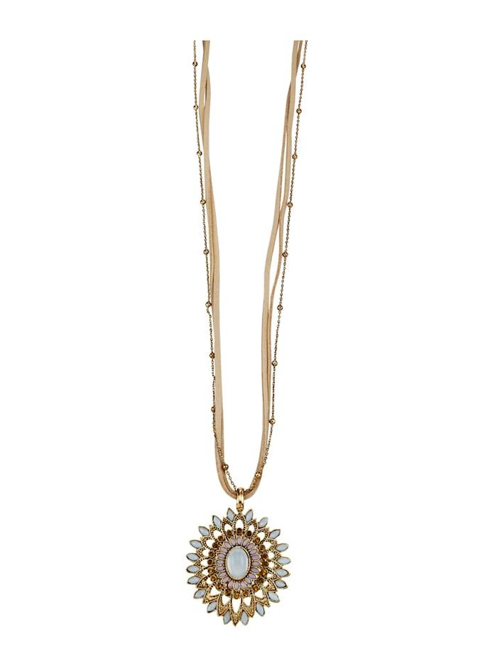 Treradigt halsband med blomhänge