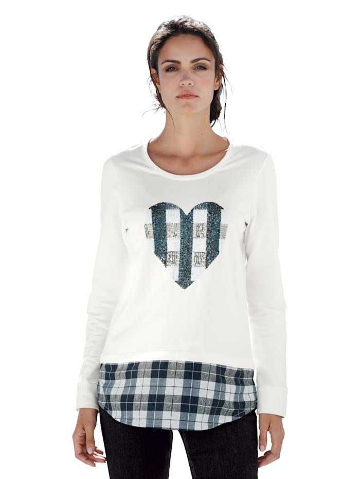 Sweatshirt mit Pailletten im Vorderteil