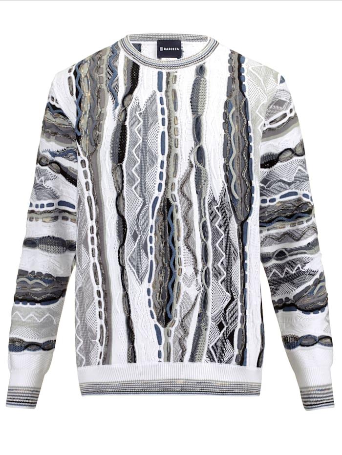 BABISTA Pullover mit aufwändiger 3D-Struktur, Weiß/Grau