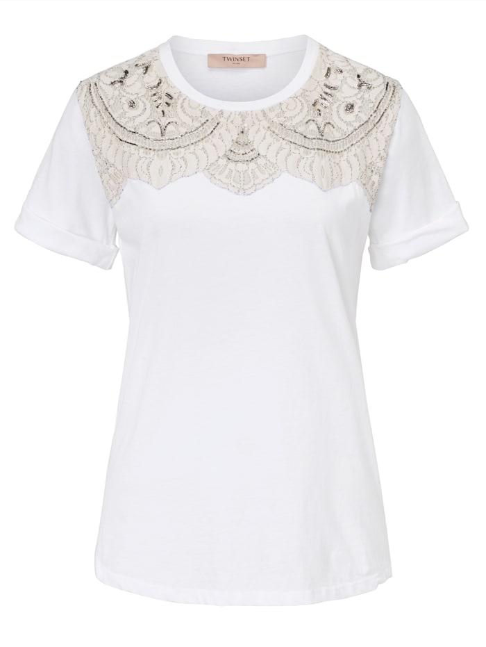 Twinset MILANO T-Shirt mit Besatz, Weiß