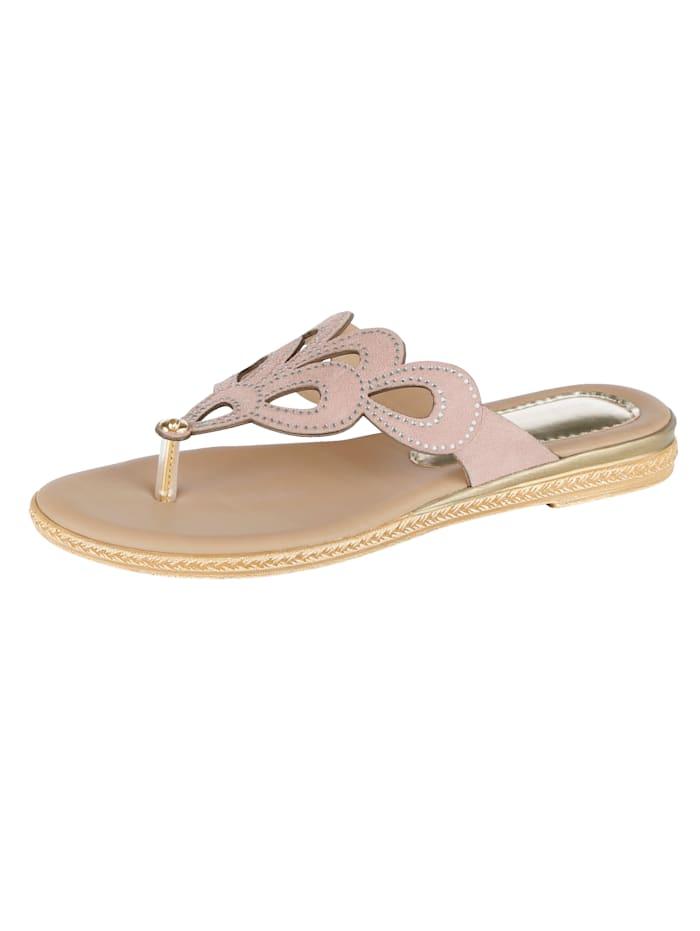 Flip flops with sparkling rhinestones, Rosé