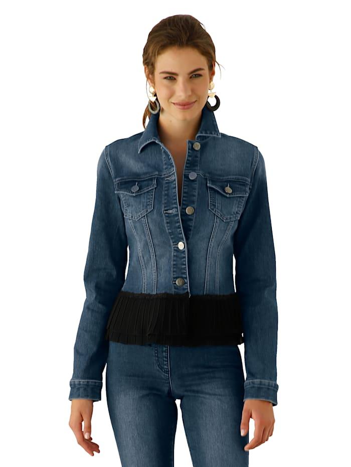 Jeansjacke mit Plissee am Saumabschluss