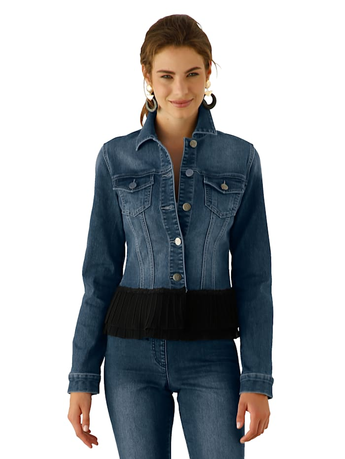 AMY VERMONT Veste en jean à empiècement plissé à la base, Dark blue