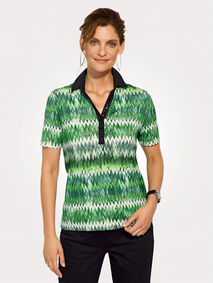 MONA Poloshirt met paillettenversiering aan de knoopsluiting, Groen/Zwart
