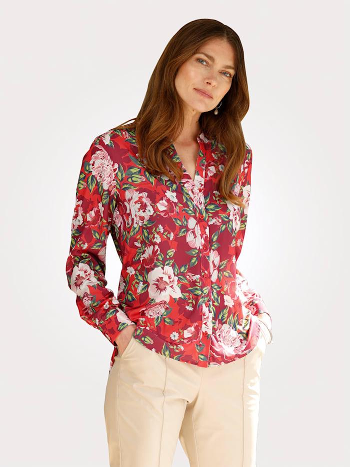 MONA Blouse met bloemenprint in heldere kleuren, Rood/Berry/Groen
