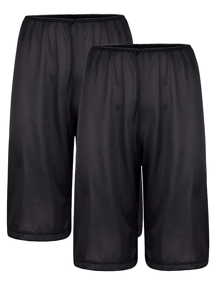 Südtrikot Hosenunterröcke im 2er-Pack mit antistatischer Ausrüstung, Schwarz