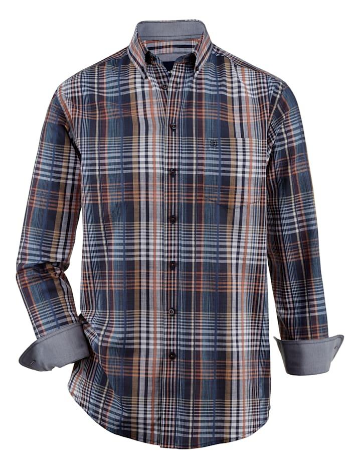 BABISTA Overhemd met ingebreid patroon, Blauw/Oranje