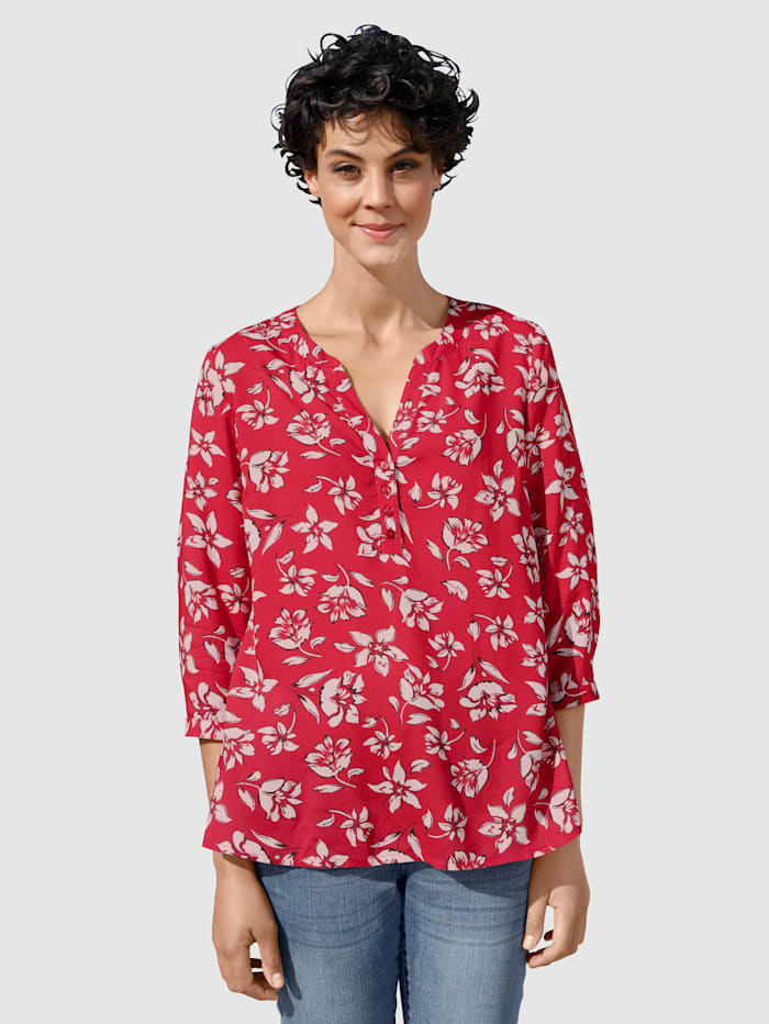 Dress In Bluse mit sommerlichen Print, Rot