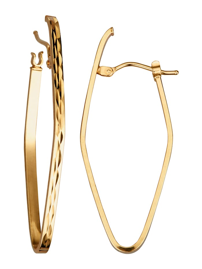 Örhängen i oval form, Guldfärgad