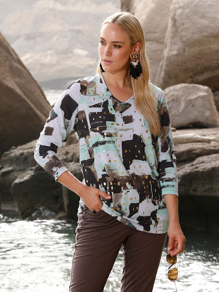 MIAMODA Shirt met folieprint, Mint/Bruin