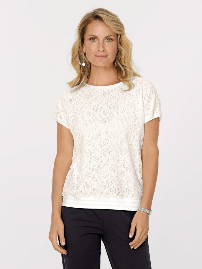 MONA Shirt mit floraler Spitze, Ecru